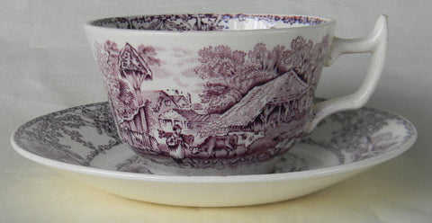Rural Scenes Purple Transferware Cup and Saucer Pastoral Mother Children Cattle Stream