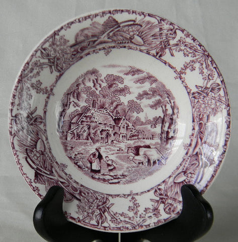 Purple TRANSFERWARE Bowl Candy Dish Trinket Dish Mother Child Cows Lamb Farm