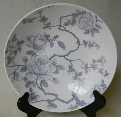 Soft Gray ish Silver Toile Roses Vintage English Transferware Vegetable Serving Bowl