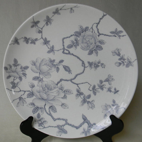 "Silver Gray Toile Trailing Roses Vintage English Transferware 10"" Dinner Plate Tapestry Adderley"