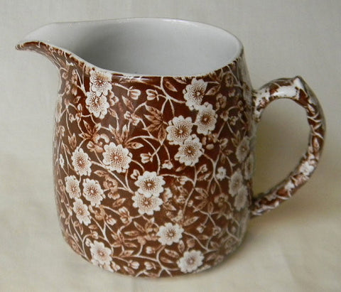 Vintage Brown Floral Chintz Calico English Transferware Pitcher