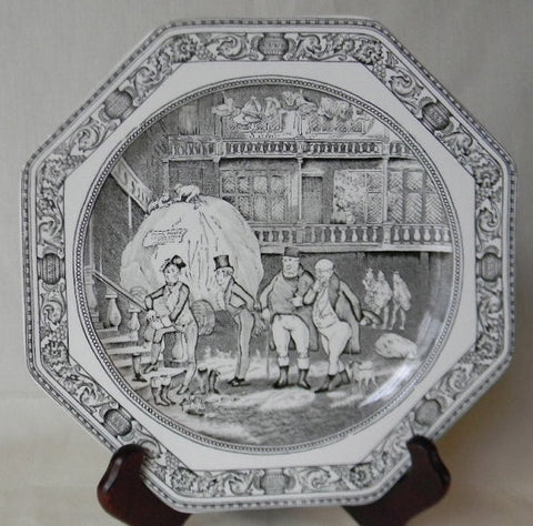 Vintage English Black Transfeware Octagon Shaped Plate Charles Dickens Pickwick Papers Sam Weller