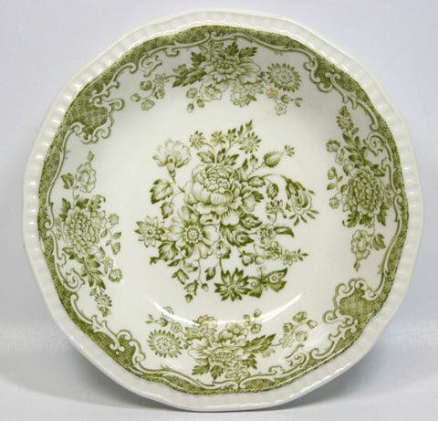 Old Olive / Sage Green Transferware Candy Trinket Dish or  Bowl Roses Bird Butterfly