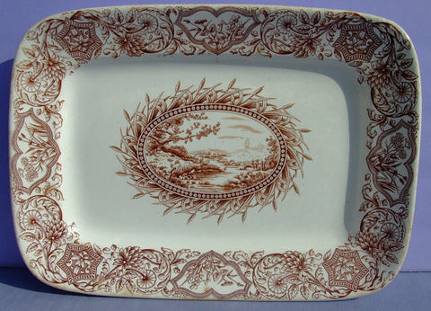 Antique Aesthetic Movement Brown Transferware Platter Aesthetic Transferware - Mountain and Lake Scenery - Cattails - Ideal Grindley