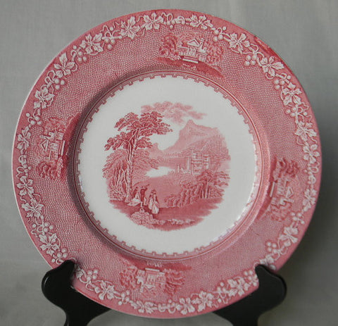 Jenny Lind Red Transferware Plate Mountains Castle Victorian Couples Peering Through Telescope & Red Transferware