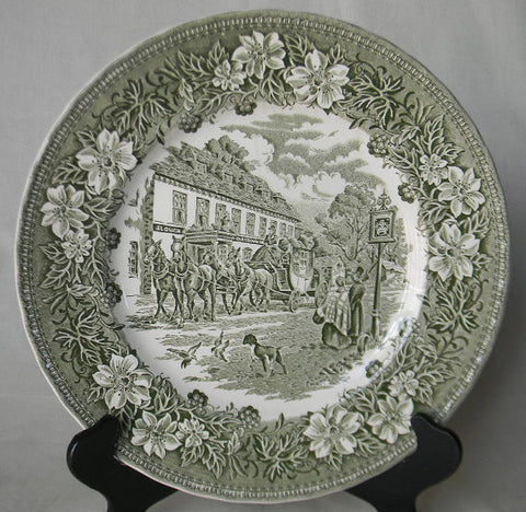 Green Transferware Plate English Coaching Scenes Dogs Flowers