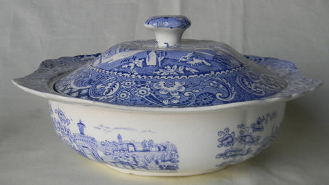Midwinter Landscape Bue Transferware Square Covered Casserole Tureen Strolling Couple Gazebo Geometric Border