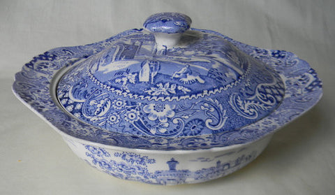 Chinoiserie Landscape Covered Dish w Pagoda Blue Tureen