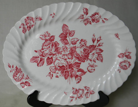 Shabby Pink Roses Vintage Red Transferware Platter English