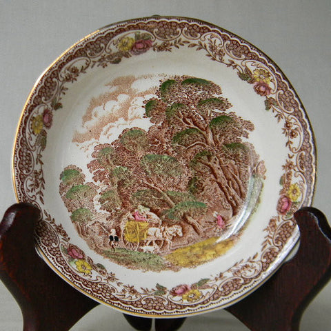 Brown Toile Transferware Berry or Candy Bowl Dish
