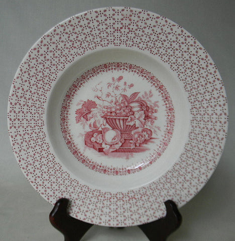 Vintage English Transferware Red Soup Plate / Shallow Bowl  - Victorian Still LIfe Basket of Fresh Fruit