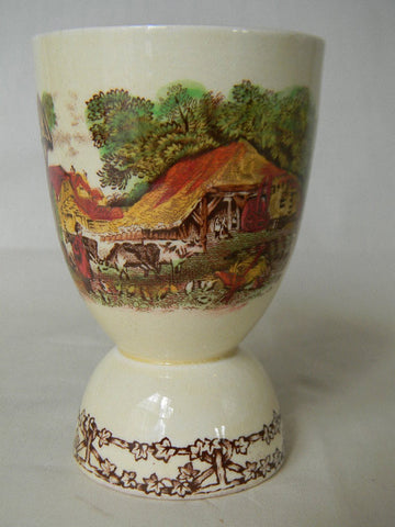 Brown Poly Transferware English Egg Cup Rural Scenes Farm Cows Pigs