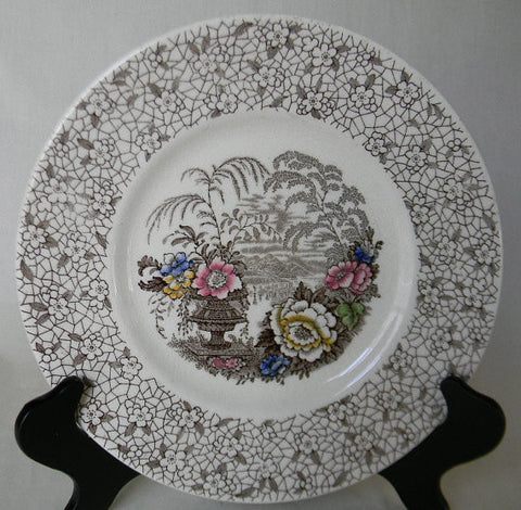 Brown Transferware Plate  Gorgeous Lacustrine / Lake Scene  and Urns with Flowers and Chintz Border
