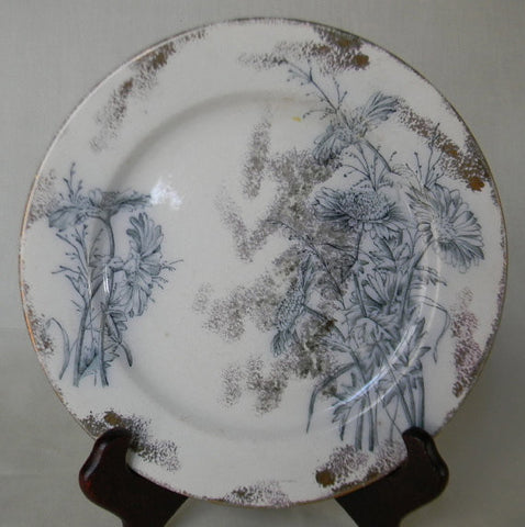 Antique Steel Blue / Teal Transferware Plate Chrysanthemum with RARE Silver Overlay Spatterware Circa 1891