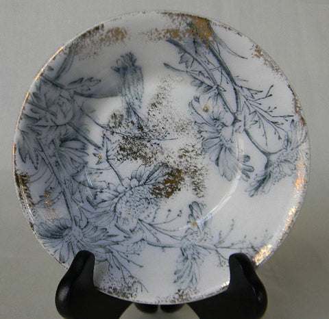 Antique Steel Blue / Teal Transferware  Candy Bowl or Trinket Dish Chrysanthemum with RARE Silver Overlay Spatterware Circa 1891