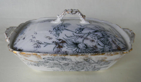 Antique Steel Blue Transferware Covered Tureen Casserole Chrysanthemum with RARE Silver Overlay Spatterware Circa 1891