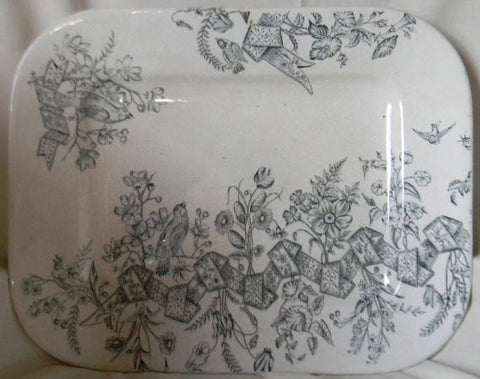 Green Transferware Aesthetic Movement Platter Birds in the Garden Morning Glory Ribbons and Swags Circa 18