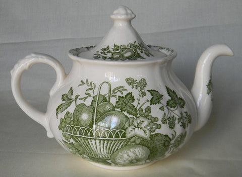 Lg Mason's Fruit Basket Vintage Green English Transferware Teapot  Fruits in a Basket