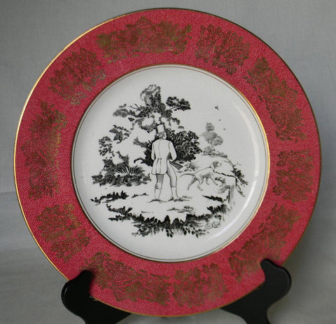 Black Transferware Charger Plate by Clarice Cliff - Rural Scenes Burgundy Border  -  English Fox Hunt Scene