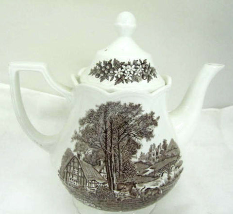 Brown Transferware Scenic Tea Pot  Romantic England Grazing Cattle