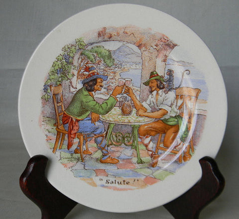 Fun  Transfer Ware  Canape' Plate International Toasting Series  Salute Italy