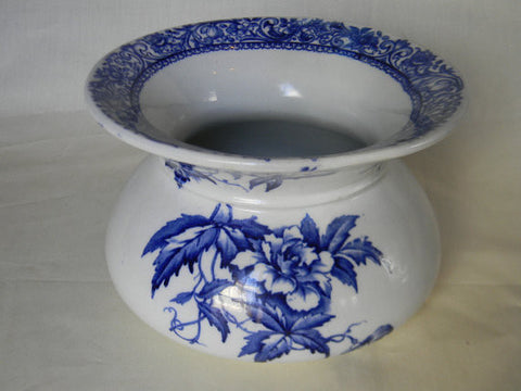 Antique Royal Doulton Blue Floral Transferware Ladies Cuspidor  - Spitoon Perfect as a Cache' Pot or Planter