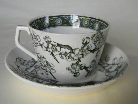 Antique English Staffordshire Green Transferware  Aesthetic Movement Cup and  Saucer Birds and Cherry Blossoms