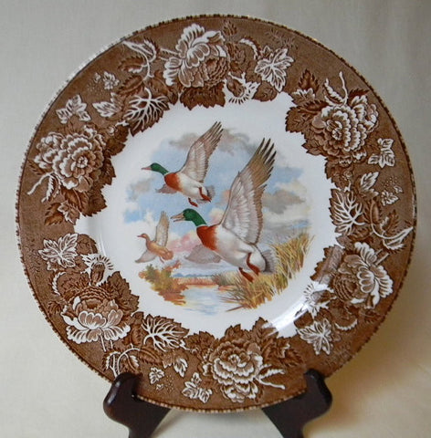 Vintage Brown Transferware Polychrome Plate  Hunt Scene  Canadian Geese in FLight