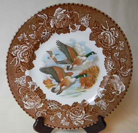Vintage Brown Transferware Polychrome Plate English Hunt Scene Ducks Mallards