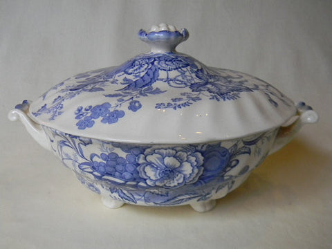 Blue Transferware Covered Casserole Tureen Basket of Fruit and Flowers w/ Butterfly Royal Doulton