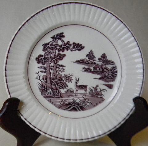 Purple Transferware Canape or Bread Plate Grazing Deer / Doe Booths  England
