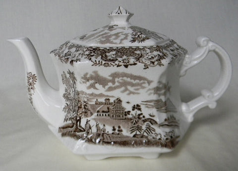 Brown Transferware Ironstone Teapot Tea Pot Wood and Sons Seaforth Sea Port  Seaside Village