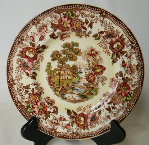 Vintage Brown Polychrome Transferware Toile Plate Tonquin Cottage Swans and  Roses