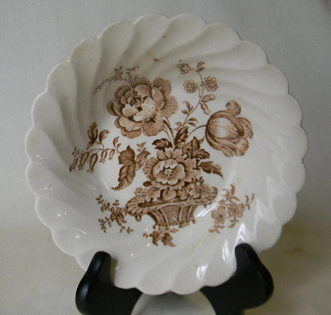 Vintage Brown Transferware Candy Dish Soap Dish  Berry  Bowl Charlotte Roses