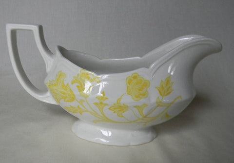 Vintage English Yellow Ironstone Gravy Boat  Vines and Scrolls