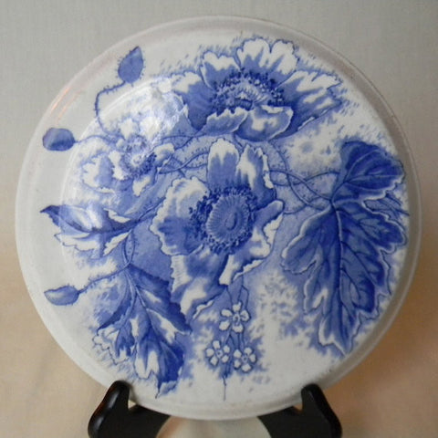 RARE Antique Blue English Transferware  Aesthetic Movement Tea Trivet Morning Glory Dunn & Bennett Florence Circa 1891