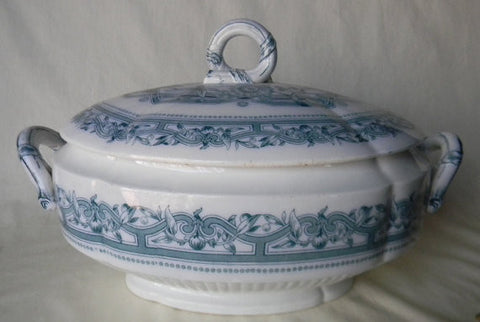 Circa 1862-83 Brown Westhead and Moore Calcutta Aesthetic Movement Teal Blue-Green Transferware Lidded Soup Tureen