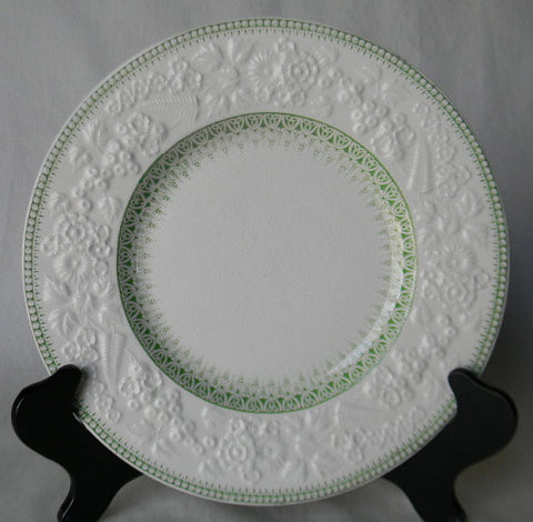 Antique Mint - Apple Green Transferware Plate English Earthenware Embossed Floral and Fern Border