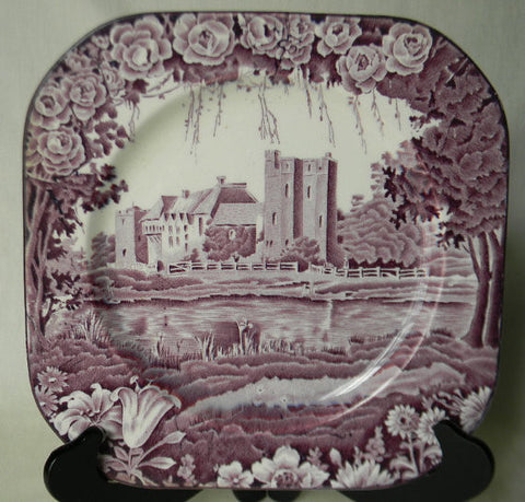 Vintage Purple Aubergine Transferware  Square Plate Dripping Roses Hills Castle  Wood and Sons Circa 1930