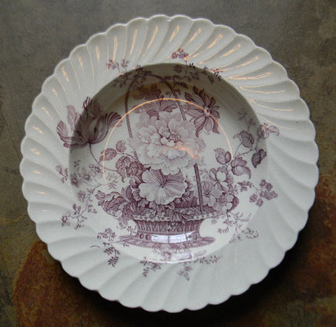 Lavender Purple Transferware Victorian Bowl / Deep Plate Basket of Roses Charlotte