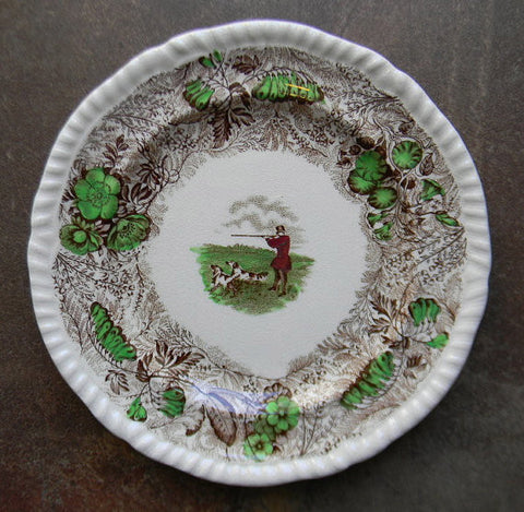 RARE Brown Polychrome Transferware Plate English Hunt Scene by Spode Copeland Field Sports