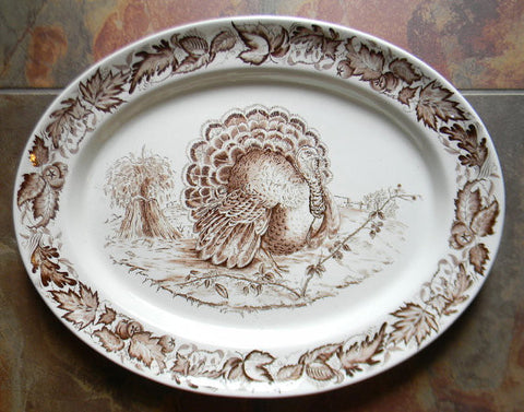 Clarice Cliff Royal Staffordshire Thanksgiving Turkey Brown English Transferware Platter Tonquin Autumn Foliage