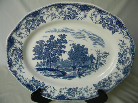 Blue Transferware Platter Children Farm Church Horse Pulling Cart