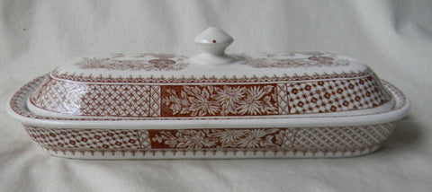 RARE W T Copeland and Sons Spode Brown Transferware  Aesthetic Movement Kew Razor Toothbrush Box