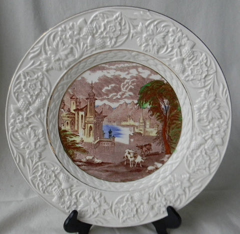 Brown Polychrome Transferware Charger Platter Serving Tray Grazing Cattle Sheep Castle with Embossed Border