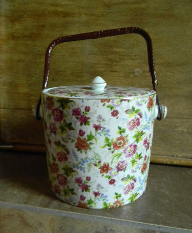 Chintz Biscuit Barrel - Original Wicker Handle - Flowers