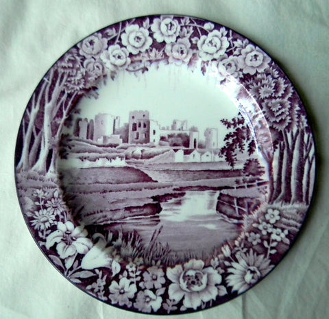Vintage Purple Aubergine Transferware Plate Dripping Roses Hills Caerphilly Castle Wood and Sons Circa 1930