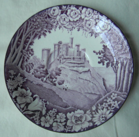 Vintage Purple Aubergine Transferware Plate Dripping Roses Hills Harlech Castle Wood and Sons Circa 1930