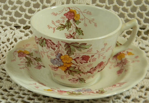 Vintage Red English Garden Transferware Tea Cup and Saucer Periwnkle Pink Green Yellow Flowers Leaves