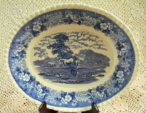 Blue Transferware Platter Grazing Cattle Cows Sheep Horses with Rose Border English Scenic